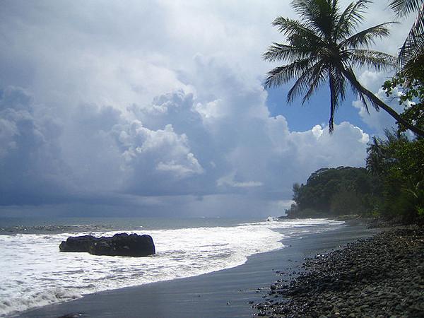Black sand beach Tahiti